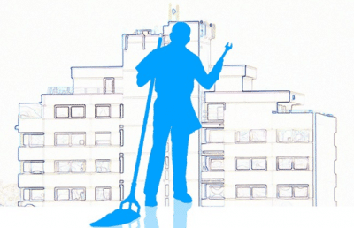 Janitorial Employee holding a mop