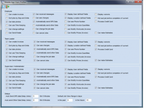 Permissions Screen in Scheduling Manager software