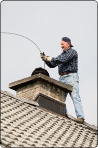 chimney sweep employee working on the roof