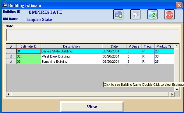 Multiple Locations Screen in Job Estimator software