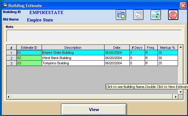 Multiple Locations Screen in Job Estimator software