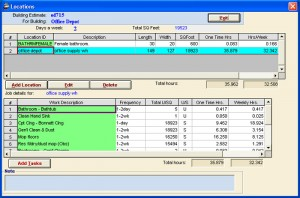 Estimating Screen in Job Estimator software
