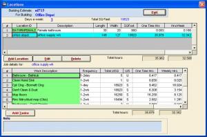 Estimating Screen in Job Estimator software
