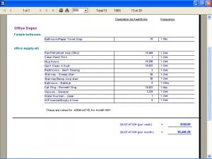 Printout of a janitorial cleaning job estimate