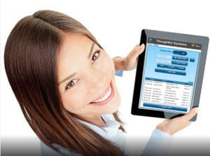 Home Health Care Employee checking her schedule on a mobile device