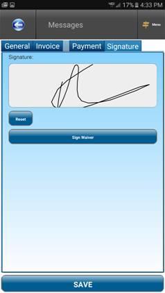Capture signature in SM-Mobile App